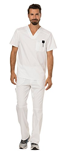 Cherokee Workwear Revolution Men's Medical Uniforms Scrubs Set Bundle - WW690 V-Neck Scrub Top & WW140 Zip Fly Cargo Scrub Pants & MS Badge Reel (White - Medium)