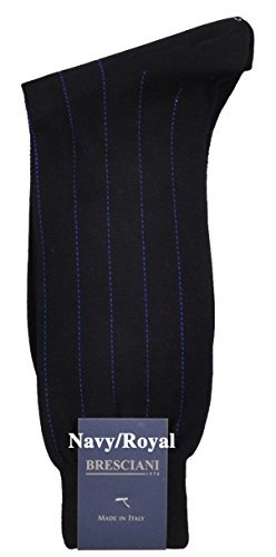 - Exquisite Dress Pinstripe Mid-Calf Cotton Socks - One Pair Navy/Royal Small