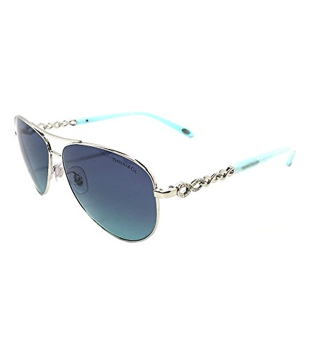 New Tiffany & Co. Womens TF3049B 60019S Silver/Azure Gradient Blue - Sunglasses Co