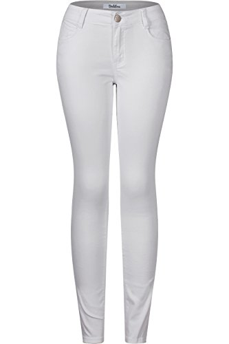 White Lift (2LUV Women's Stretchy 5 Pocket Skinny Butt Lift Jeans White 1)