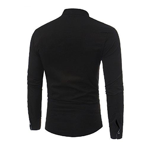 Howme Hommes Occasionnels Bouton Ourlet Designer Coupe Cintrée Chemise De Irrégulière Robe Noire
