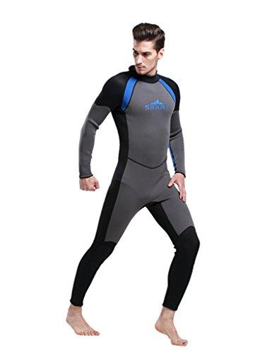 Herren Schwarz mit Grau UV Schutz Anzug Wetsuit Neoprenanzug Tauchanzug Wassersport lang 2XL neu