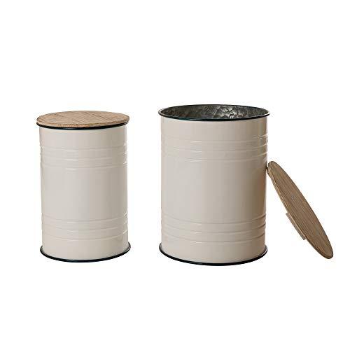 (Glitzhome Farmhouse Metal Enamel Storage Stool Ottoman Seat with Round Wood Lid Set of 2)