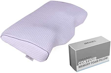 ZBRANDS Contour Memory Foam Pillow for Side Sleepers and Back Sleepers – Cervical Orthopedic Sleeping Pillow for Neck and Shoulder Pain Relief – Medium Density Slow Rebound Memory Foam