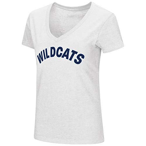 - Colosseum Womens NCAA-Valuable Commodity-Dual Blend V-Neck Slim Fit T-Shirt-Villanova Wildcats-White-Medium