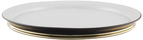 Maison Alma AR104WBG Arienne Collection Decorative Platter, 12-Inch, Black Limoges Porcelain with 24 Karat Gold Accents -
