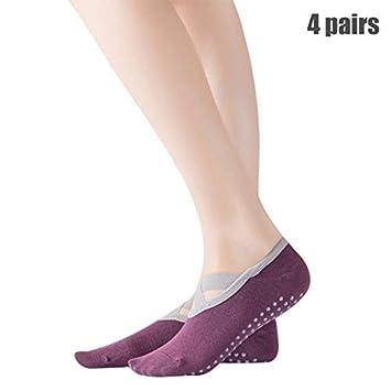 YDWZYS 4 Pares De Calcetines De Yoga para Mujer, Partículas ...