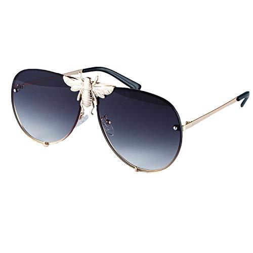 Metal Big Bee Pilot Sunglasses Gradient Lenses UV400 Retro Men Women Shades 47850 gold ()
