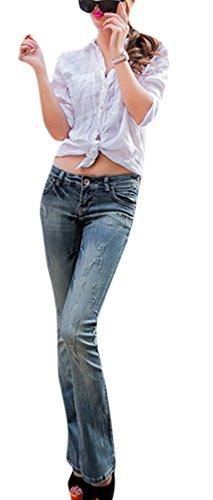 Youtobin Women Mid-rise Slim Waist Denim Pants Worn Horn Flared Jeans 30 (Denim By Victoria Beckham)
