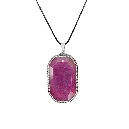 ART KIM Octagon Cube Honeycomb Lattice Zirconia Agate with Rhinetone Edge Pendant Necklaces (Rose Red)
