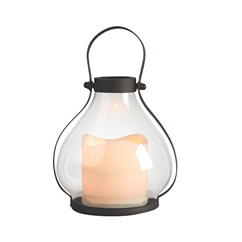 Gerson Everlasting Glow 42502 Battery Operated Metal And Glass School House  Lantern With 3 By 3
