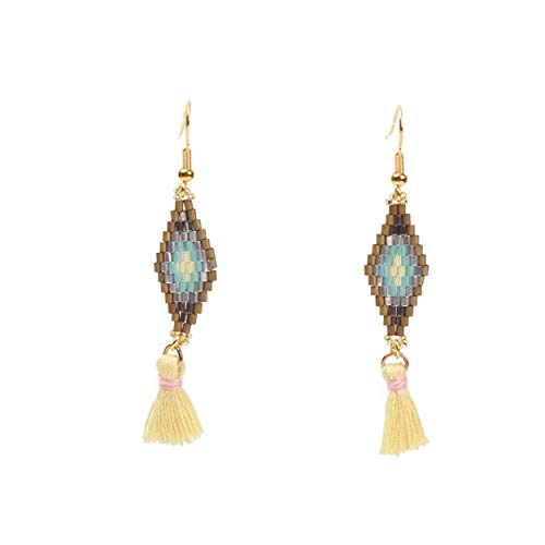 Beaded Drop Earrings Women Native American Tassel Earring Seed Bead Loom Stitch Fairy Pattern Earing Gift (yellow)