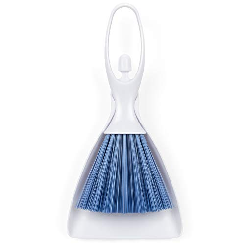 Hand Broom and Dustpan Set, RIZON Mini Dustpan Brush Nesting Tiny Cleanning Whisk Broom Small for Table, Desk, Counertop, Keyboard, Car, Dog, Cat and Other Pets