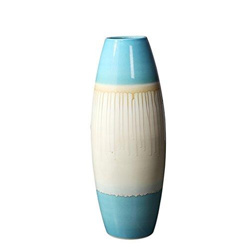 Hyun times Floor vase pottery ceramic 22 60cm (blue - flow glaze) creative living room simple home furnishings flower arrangement - Flow Blue Pottery