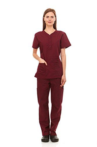 6e36892480c Denice Womens Medical Uniforms Kendall Faux Belted Waist Nurses Scrubs Set  1105 (Medium, Wine)