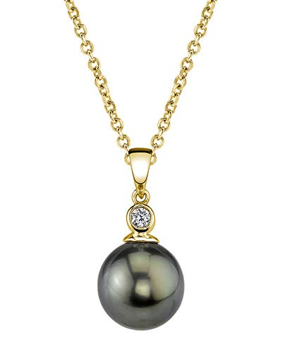 THE PEARL SOURCE 14k Gold 9-10mm Round Black Tahitian South Sea Cultured Pearl & Diamond Michelle Pendant Necklace for Women