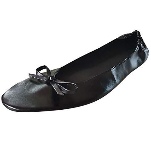Sherostore ♡ Womens Foldable Ballet Flats Slip-On Ballet Comfort Walking Classic Round Toe Shoes Dance Shoes for Girls Black