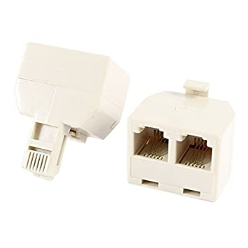 Water & Wood RJ11 6P4C 1 Male to 2 Female Phone Cable ADSL Splitter Connector 2pcs