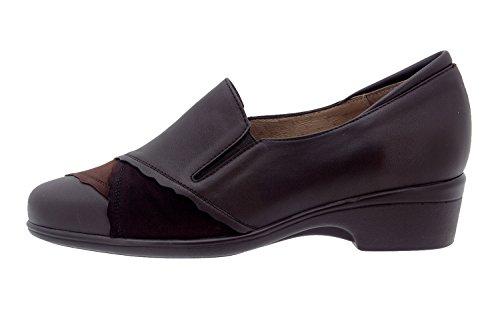 Calzado mujer confort de piel Piesanto 5606 zapato casual cómodo ancho Caoba