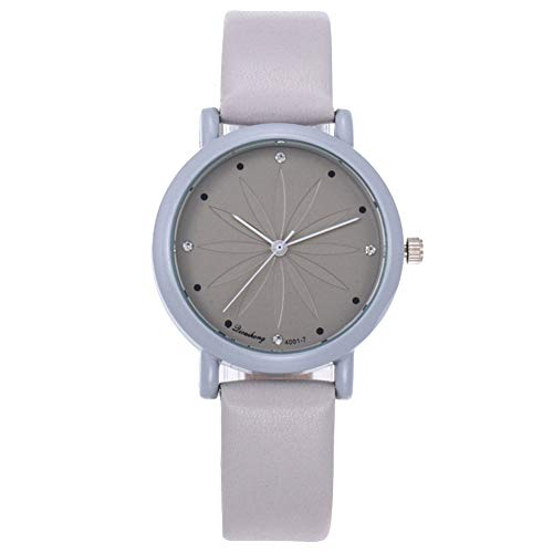 lightclub Girls Women No Numbers Rhinestone Inlaid Round Dial Quartz Analog Wrist Watch - Grey