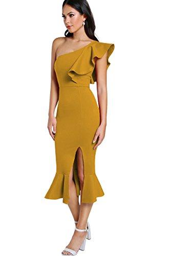 fda366fcfb7 Floerns Women s Ruffle One Shoulder Split Midi Party Bodycon Dress Yellow XL