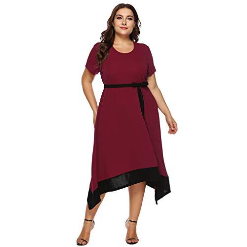 (JESPER Womens Stylish Solid Clutches Dress Waist Peplum Frenulum Belt Evening Dress Sundress Red)
