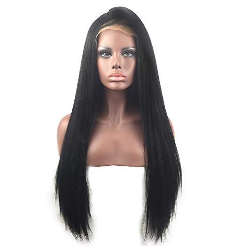 - Long Straight Lace Front Full Wig Natural Straight Heat Resistant Synthetic Hair Replacement Wig for Women (One Size, Black)