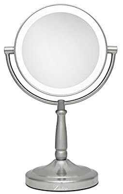 Zadro Next Generation Cordless LED Vanity Mirror, 5X and 1X Magnification - Satin Nickel Finish