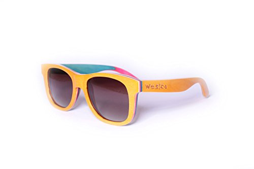 Westco Natural Wood Handmade Polarized Recycled Skateboard - Skateboard Sunglasses Brands