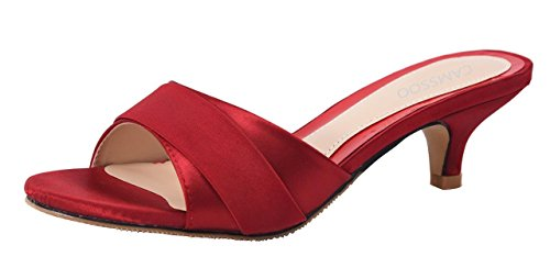 Womens Summer Open Toe Satin Simple Sandals Low Heeled Slippers Wine Red Size US6.5 CN37