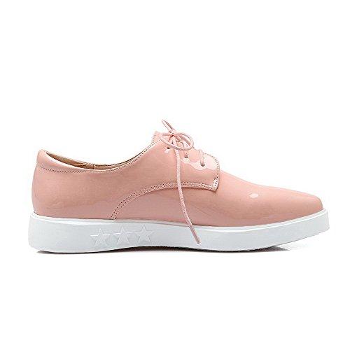 AalarDom Damen Spitz Zehe Lackleder Niedriger Absatz Schnüren Pumps Schuhe mit Knoten Pink