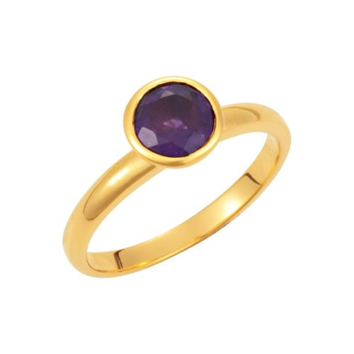 18k Yellow Gold Vermeil Amethyst Stackable Ring Size 7, 18kt Yellow gold vermeil, Ring Size 7