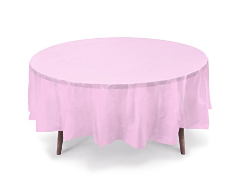 """5 PACK, 84"""" Light Pink Round Plastic Table Cover, Plastic Table Cloth Reusable (PEVA) (Light Pink)"""