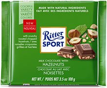 Ritter Sport Bars, Milk Chocolate with Chopped Hazelnuts, 3.5 Ounce (Pack of 12)
