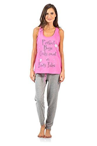 Casual Nights Womens Tank Top and Long Pant Pajama Set - Pink/Grey