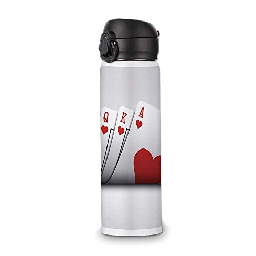 Poker Tournament Decorations Simple Stainless Steel Bottle,Royal Flush Playing Cards Hearts Betting Bluff Gambling Decorative for Indoor Outdoor,9