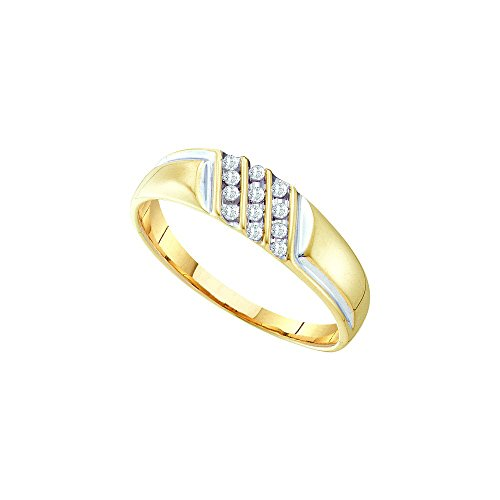10kt Yellow Gold Mens Round Channel-set Diamond Diagonal Triple Row Wedding Band 1/8 Cttw