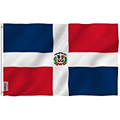 Dominican Republic Polyester Flag by ANLEY - Vivid Color and UV Fade Resistant - Canvas Header and Double StitchedQuality MaterialMade of durable polyester. Double stitched all around the edge and strengthened by canvas header and two brass g...