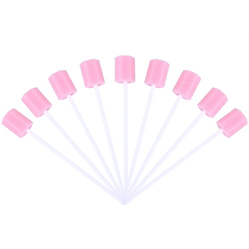 ROSENICE Disposable Oral Care Sponge Swab Tooth Cleaning Mouth Swabs 100pcs (Pink)