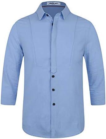 シャツ メンズ 綿麻 スリムフィット 開襟 ボタン付き 七分袖 吸汗 通気 無地 夏服