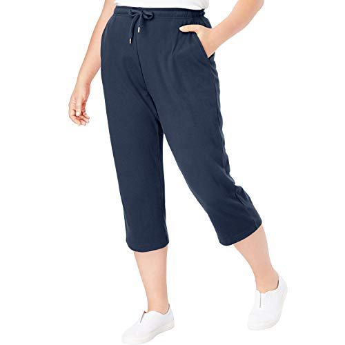 Woman Within Women's Plus Size Sport Knit Capri Pant - Navy, S
