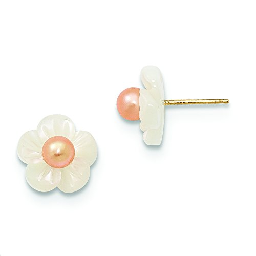 14k Yellow Gold 3-4mm Pink Cultured Pearl w10mm MOP Flower Post Stud Earrings for Women ()