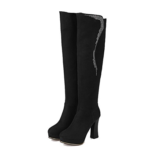 High Suede top Imitated Zipper High Agoolar Solid Women's heels Nero Boots XPFn0x