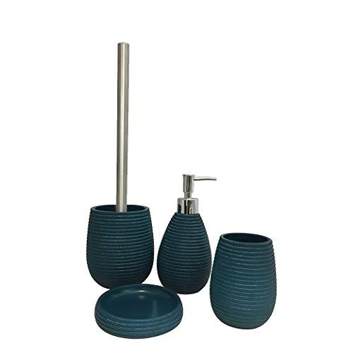 Meubletmoi Set 4 Accessoires Salle de Bain en Polyrésine et Base minérale Bleu – Design Contemporain – Collection Tania