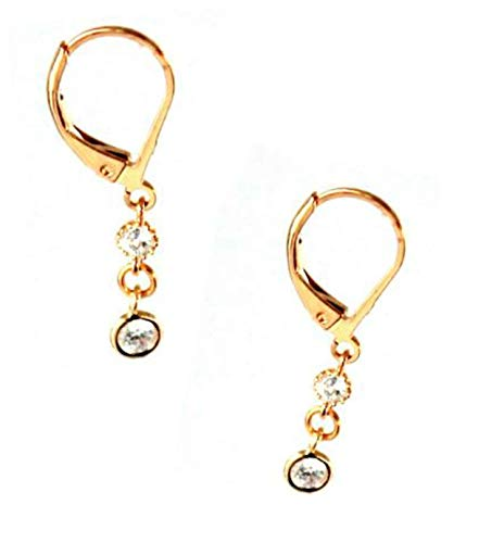 Venus Leverback Earrings.925 Sterling Silver or Gold Plated Silver and Cubic Zirconia Diamonds, Elegant jewelry for women and girls ()