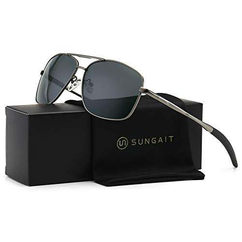 SUNGAIT Men's Polarized Sunglasses Durable Metal Frame for Fishing Driving Golf (Gunmetal Frame/Grey Lens) Metal Frame 0925 ()