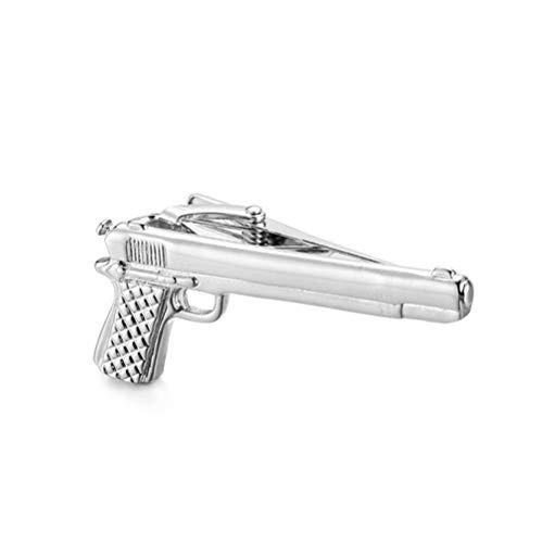 - Fancy Mens Tie Bar, Necktie Tie SpRing Loaded End Clip Clasp Bar, Handgun Gun, Color Black
