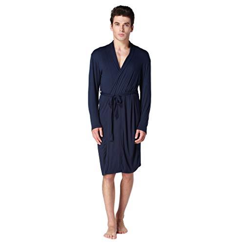 (WFeieig Sleepwear Men's Nightshirt Summer Long-Sleeved Home Wear Thin Men's Pajamas Home Service Comfy Loose Pajamas Navy)