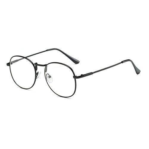 et lunettes femmes lentilles Aiweijia de rond résine myopie rétro Hommes Noir cadre plein en lunettes A5UAt
