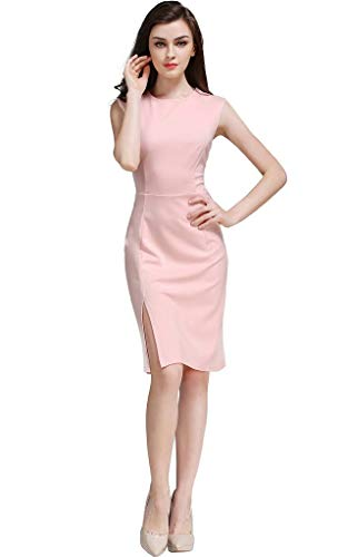Celebrity Front Wear Pink Bodycon Cocktail to Party Ninos Ruched Elegant Split Business Dress Buenos Women's Prom Work Sqw1xnCC4Z